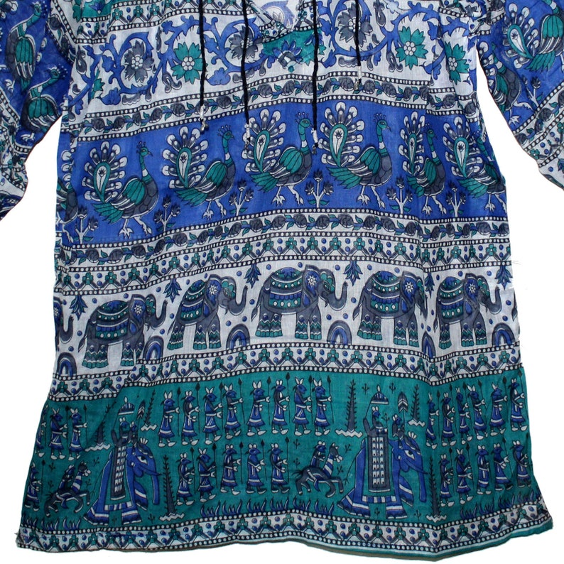 Indian Cotton Ethnic Gypsy Top For Women Retro Blouse Hippie Boho Tunic Blusa Dress Vintage Look Free Shipping