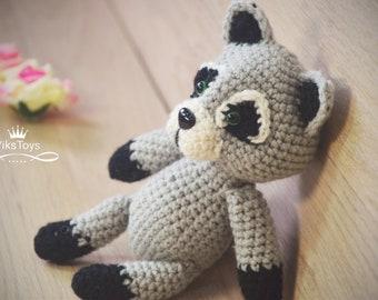 Crochet Raccoon, Amigurumi Raccoon, Raccoon toy, handmade, Raccoon Plush, Crochet Toys, Animal Plushie, Crochet Grey Black Raccoon