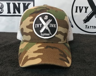 Ivy Ink Camo and White Trucker Hat
