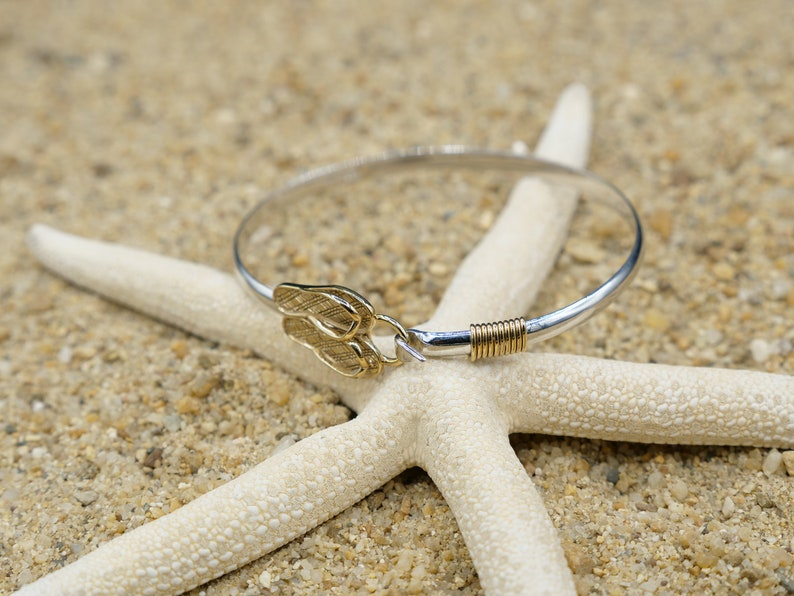 Flip Flop Bangle Elegant Sterling Silver Bangle with Golden Flip Flops Gold Plated Sea Life and Nautical Gift Beach Jewelry