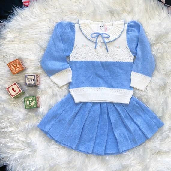 Vintage periwinkle pleated skirt & sweater set