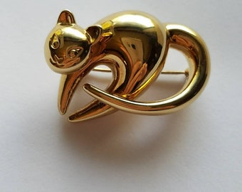 14k Cat Brooch or Cat Pin 4.6g Great Gift!