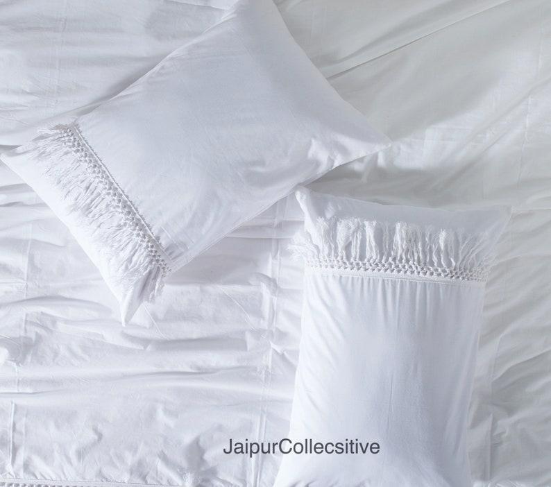 Cotton Tufted Duvet Cover Boho Duvet Cover Full King Comforter Cover White Tassel Duvet Cover Set Queen Twin Duvet Cover With Fringes