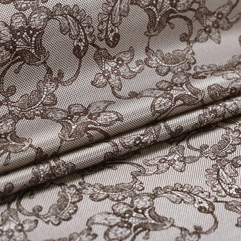 Vintage Lace Print Stretch Silk Satin fabric by the Yard Width 42 inch A67