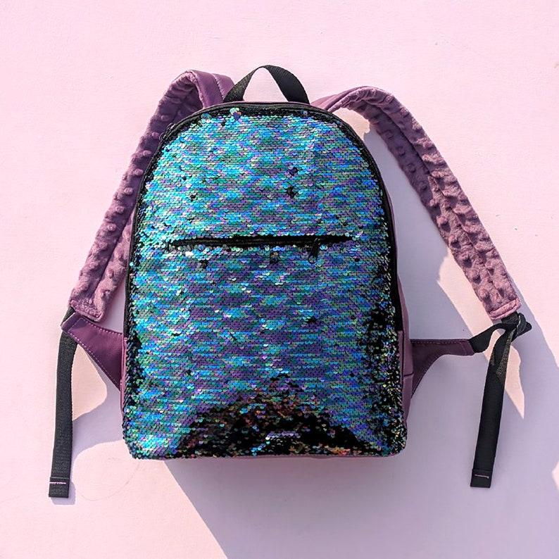 Girls backpack Hipster backpack Moveable Sequin Purple Backpack Reversible Sequin Multycolor Backpack Blue Backpack Women Backpack