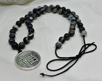 Ying Yang Pendant Necklace with Striped Agate, Natural, Agate, Ying Yang, Necklace, Women.