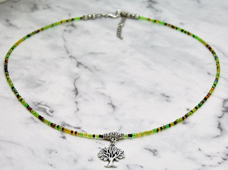 Nature Necklace Tree Charm Necklace with Multi-coloured Green Seed Beads