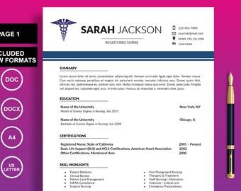 Nurse Resume, Nursing Resume Template, Medical Resume, CV Template, Doctor Resume, RN Resume Template, Health Care Resume, Instant Download