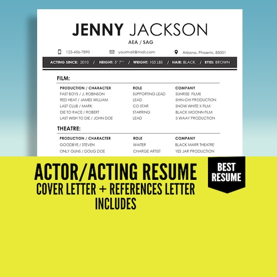 Actor Resume Template, Acting Resume Template, Actress Resume, CV Template,  Cover Letter, Model Resume, Instant Download