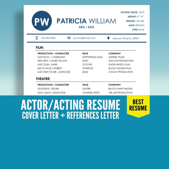ON Sale ! Actor Resume Template, Acting Resume Template, Actress Resume, CV  Template, Cover Letter, Model Resume, Instant Download