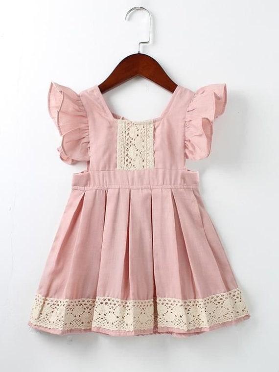 online retailer 4fad0 92cf5 rosa cipria chiaro con pizzo avorio abito, bambino, vestito di compleanno