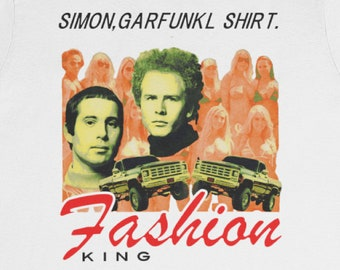 """Simon and Garfunkel """"Fashion King"""" T-Shirt / Chess King Spencer Gift Weird Gift Sounds of Silence Protest Chinglish Engrish Lost Translation"""