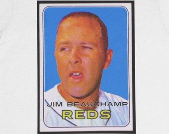 Jim Beauchamp Cincinnati Reds 1969 T-Shirt / Vintage baseball player card Weird photo Bad Art Odd design Crappy picture Big Red Machine Fun