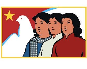 Vietnam Propaganda Women T-Shirt / Women's Day Gift International Labor Movement Socialism Communism Workers of the World Hanoi Saigon Cool