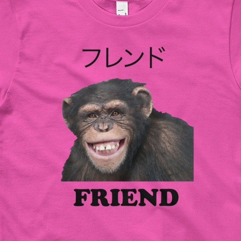 Chimpanzee FRIEND Kids 8 12 Yrs T Shirt Birthday Gift