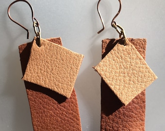 Asymetric leather earrings