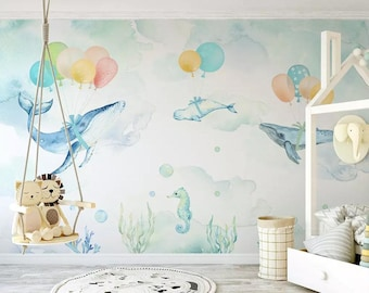 Watercolor Balloon Whale Wallpaper Nursery Wall Decor Removable Kids Playroom Mural Self Adhesive