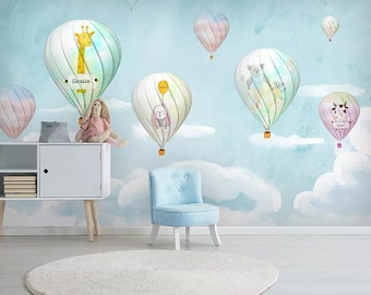 Amazing Animals Pattern Hot Air Balloon Wallpaper For Nursery Bedroom Colorful Kids Wall Mural Playroom Decal