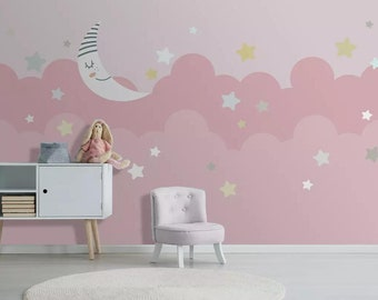 Pink Clouds Background Wallpaper For Nursery Bedroom Baby Moon And Star Wall Mural Girls Room Paper Decal