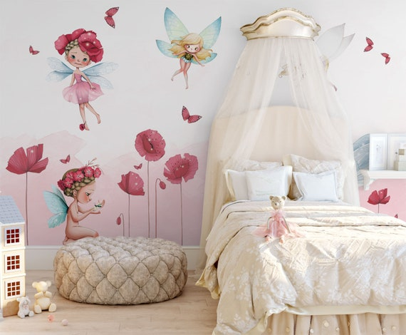 Pink Butterfly Fairy Wallpaper Fairy And Pink Butterfly Girls Etsy