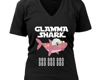 9c4841f8a Official VnSupertramp Glamma Shark Women V-Neck T-Shirt Doo Doo Plus Size  XL-4XL - Personalized Shark Birthday Gift for Grandmom, Grandma
