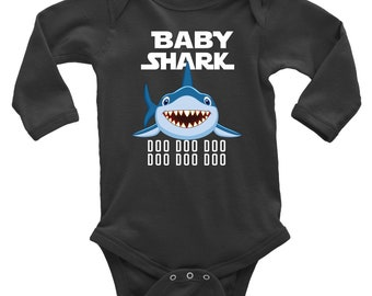 a2dc6083d17 Official VnSupertramp Baby Shark Long Sleeve Baby Bodysuit Onesie Doo Doo  Doo - Personalized Shark Birthday Gift for Kids