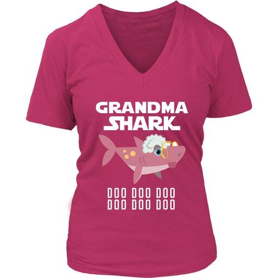 2220d5b41 VnSupertramp Grandma Shark V-Neck T-Shirt Plus Size XL-4XL   Etsy