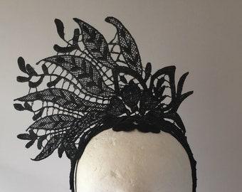 White Orchid Flower Fascinator Teardrop Races Headband Lace Wedding Vintage 3212