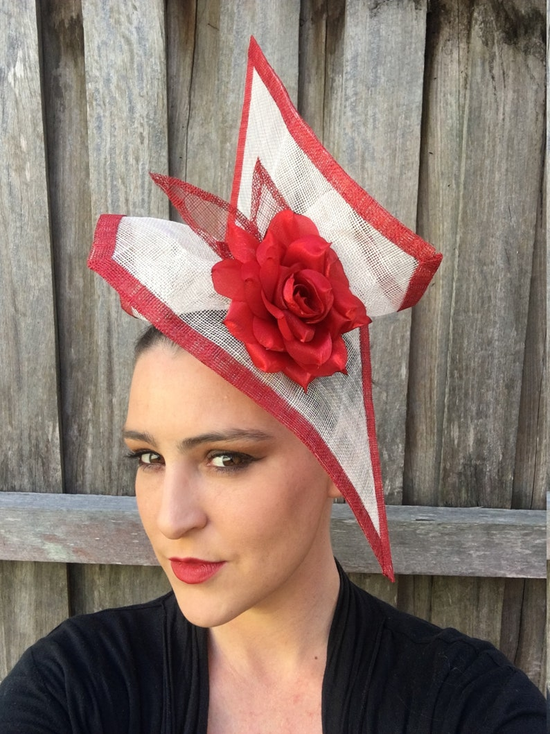 48913e7d Statement fascinator red and natural sinamay with large red | Etsy
