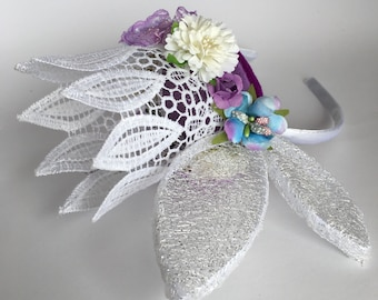 Flower and lace crown on headband
