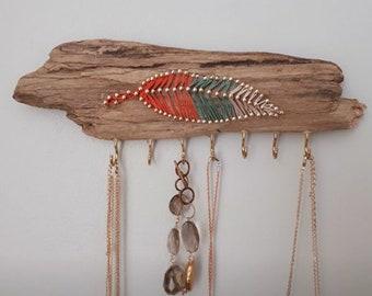 Driftwood Feather String Art Jewellery Holder