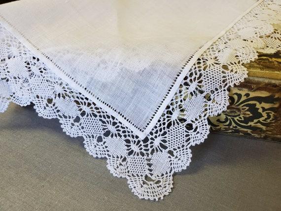 Bridal Lace Handkerchief - Vintage Handmade Bruge