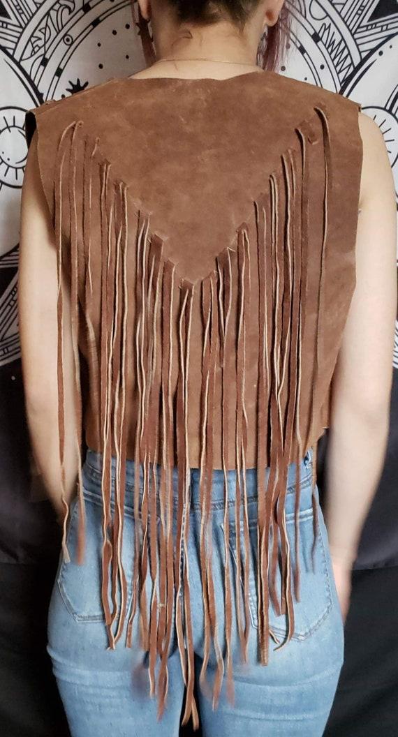Vintage handmade leather fringed vest