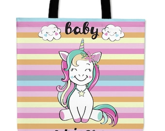 Inscription baby unicorn / tote bags