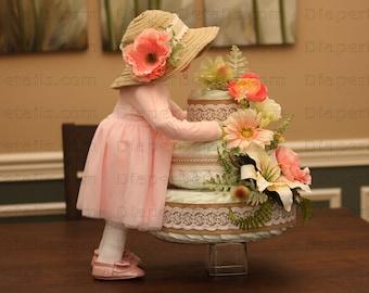 Unique Original Custom-Made Full Standing Baby Girl & Floral Diaper Cake Creations Baby Shower Centerpiece Decor 2 pc Rustic Vintage Burlap