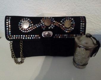 Suede  leather handbag