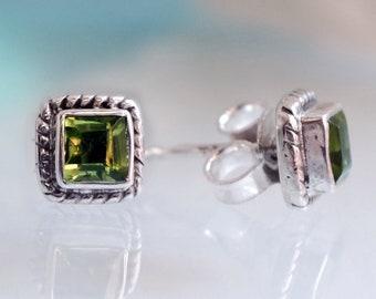Peridot Earrings, August Birthday Gift, Green Earrings, Sterling Silver Stud Earrings, August Birthstone, Nautical Earring, Everyday Earring