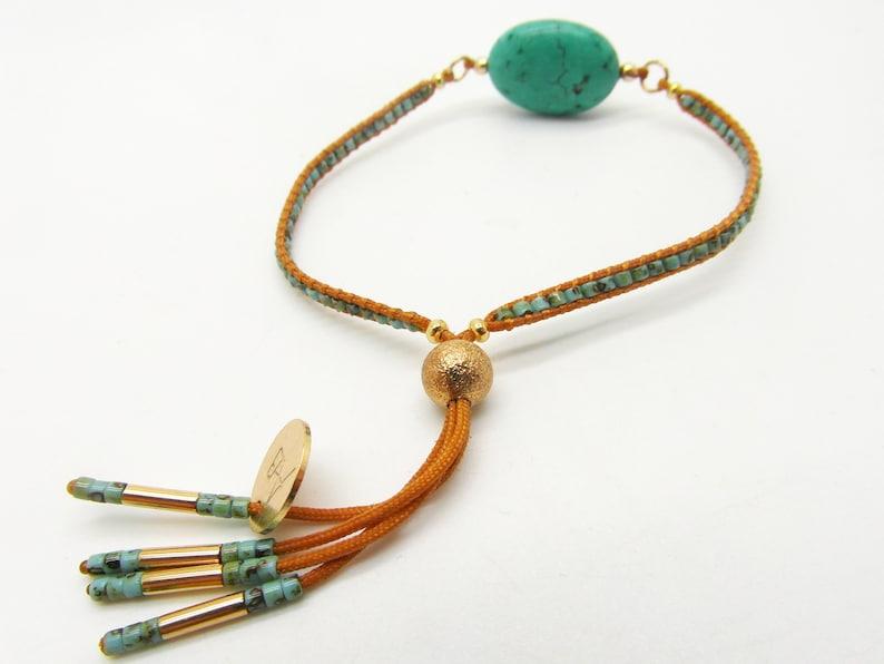 Woven bracelet turquoise bead adjustable Bracelet-