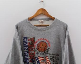 8a3234ad3 Vintage NEW YORK KNICK Sweatshirt Crewneck Unisex Large New York Basketball  Team Nba Big Logo Pullover Grey Jumper Unisex Size L
