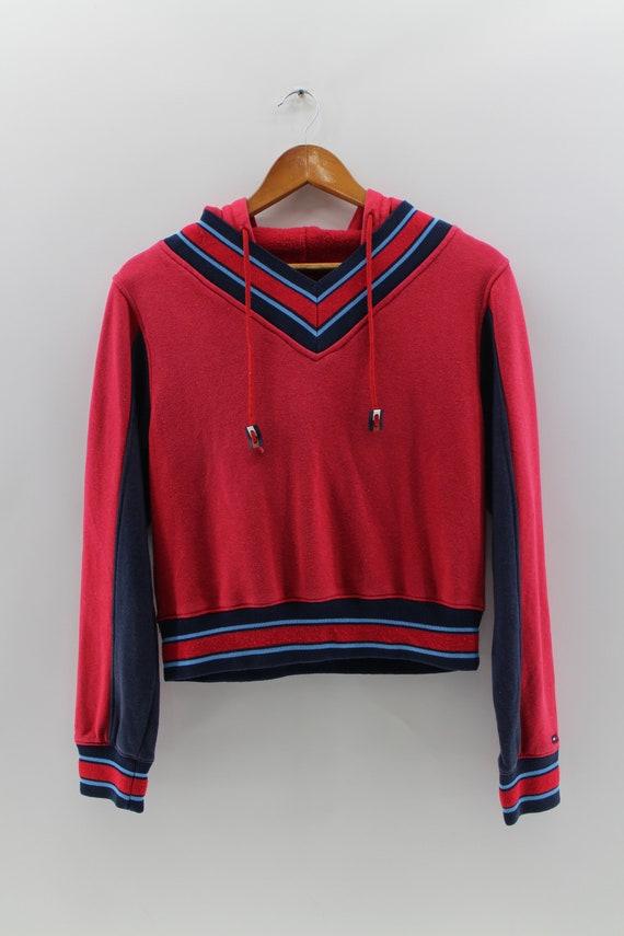 b24380fbddacc Vintage TOMMY JEANS Crop Top Hoodie Women Medium 90 s