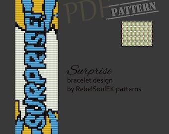 Comic pattern, pop art loom pattern, square stitch, bead pattern, bead loom pattern, pdf pattern loom, scheme loom,surprise