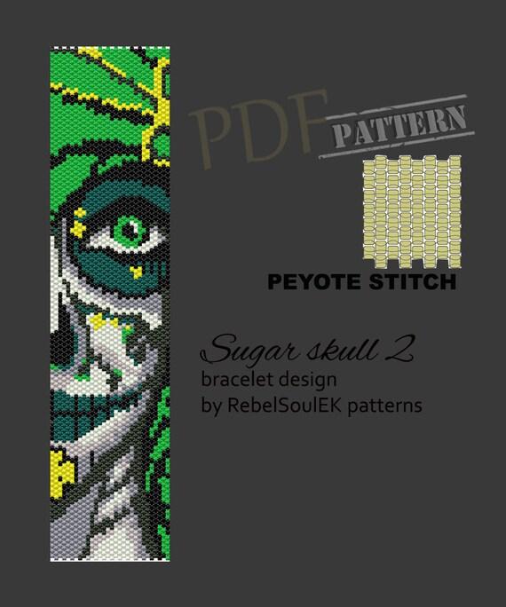 instant download bead loom pattern loom beading sugar skull loom square pattern Santa Muerte beadwork pattern loom bracelet