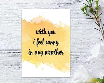 Digital Printable Card 5x7, Watercolor, Love card, With love, Gift for Girlfriend Boyfriend, Handmade greeting cards, Funny Anniversary Card