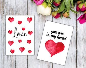 Set of two 5x7 Digital Printable Card, Love you, Heart, For you, Gift for Girlfriend Boyfriend, Handmade Greeting Cards, Romantic Flat Cards