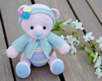 amigurumi toy-bear teddy- handmade toys-amigurumi bear-teddy plush- Baby gifts- rainbow bear -  striped bear -  pink bear ready to ship
