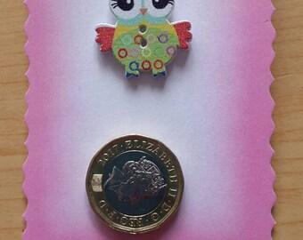 Owl pin badge