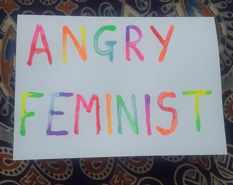 Angry feminist greeting card