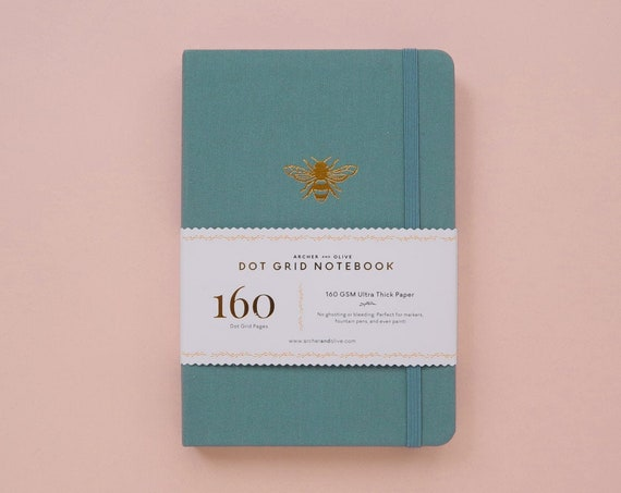 Archer & Olive Ultra Thick 160gsm Paper Dot Grid Journal - Teal Bee