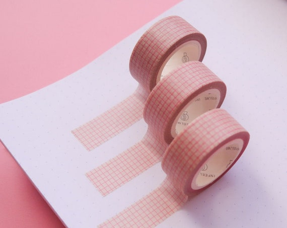 Red Grid Kraft Washi Tape