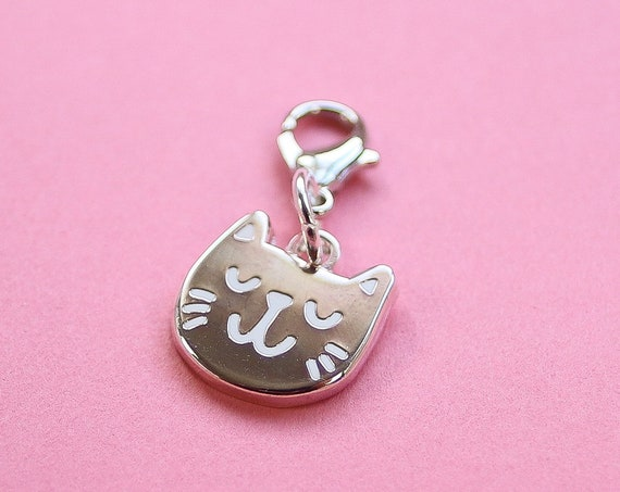 Silver Kitty Bullet Journal Charm - Hard Enamel Planner charm
